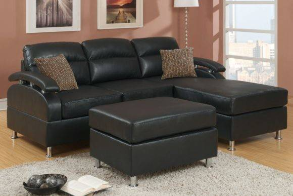 Furniture Luxurious Black Leather Sectional Couch Bring