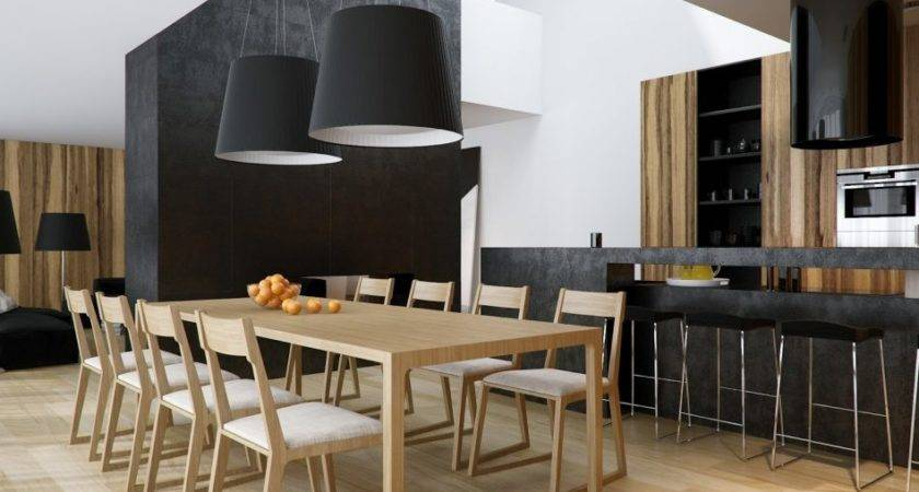 Furniture Modern Black Dining Room Table Interior House