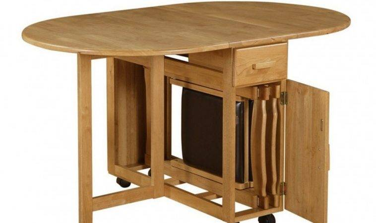 Furniture Wooden Oval Folding Dining Table Storage