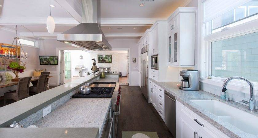 Galley Open Concept Kitchen Designs Dining Room