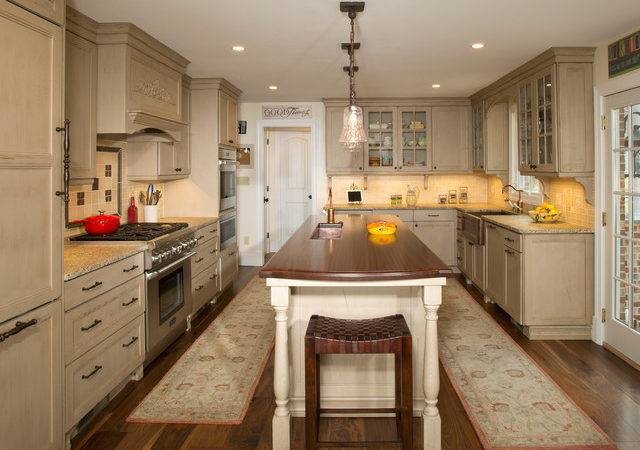 Galley Style Kitchen Island Olney Traditional