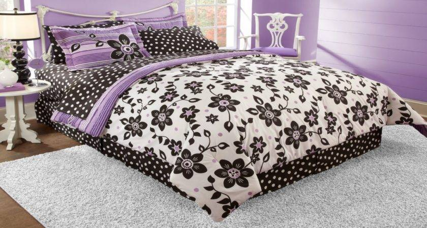 Garden Bed Designs Ideas Purple Black White Bedding