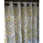 Geometric Light Gold Damask Curtain Panels