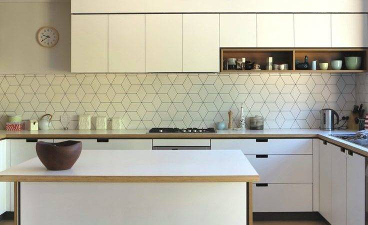 Geometric Tiled Splashback White Kitchen Timber Details