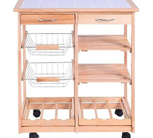 Giantex Rolling Wood Kitchen Trolley Cart Dining