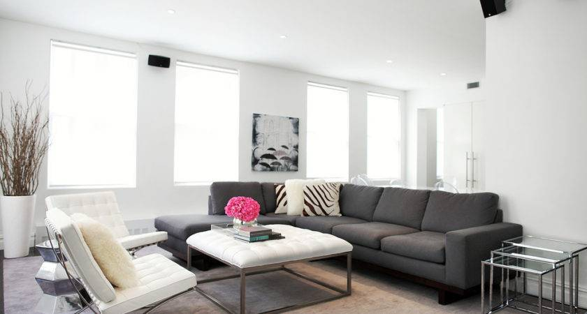 Glamorous Grey Sectional Couch Vogue New York Contemporary