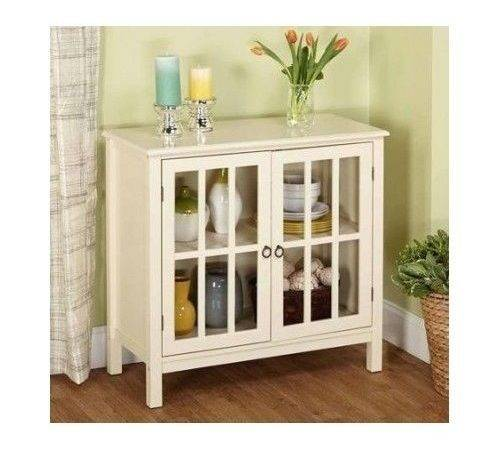 Glass Door Cabinet Antique White Storage Modern Dining