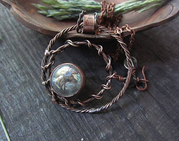 Glass Pendant Rustic Copper Jewelry