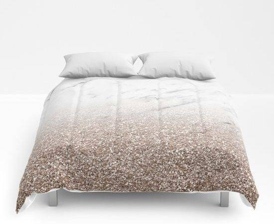 Glitter Ombre White Marble Rose Gold