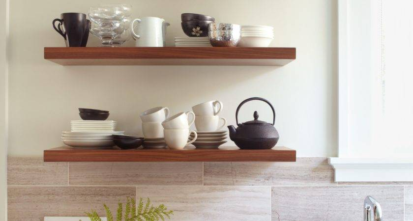 Glorious Brown Hardwood Floating Open Shelving Kitchen