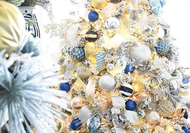 Gold Blue Christmas Tree Decorations