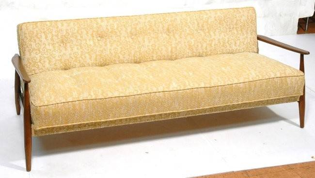 Gold Cream Upholstered Sofa Couch Tufted Deep Lot
