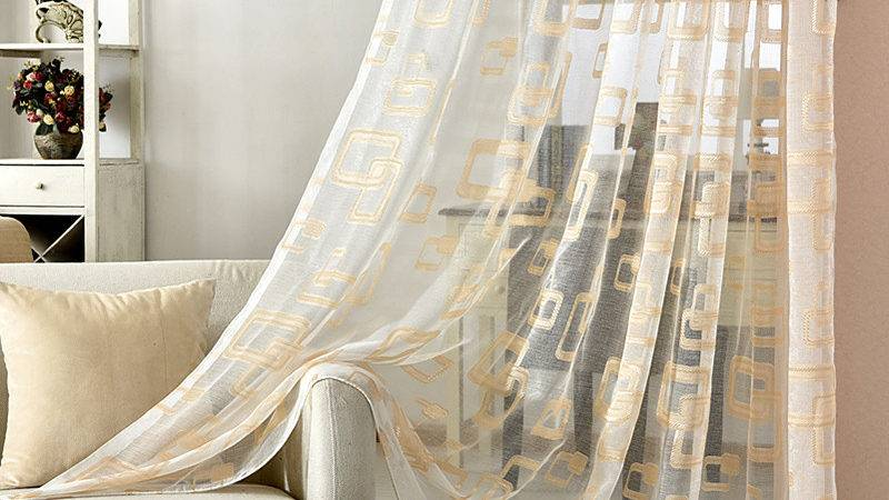 Gold Grey Sheer Window Curtains Living Room Luxury