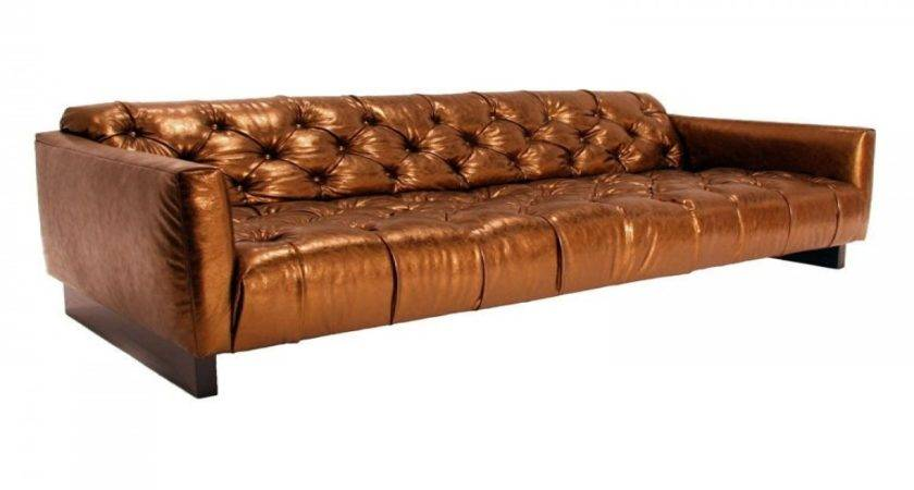 Gold Leather Couch Cream Tufted Sofa