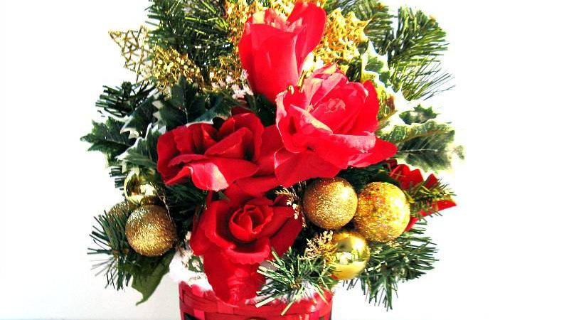 Gold Red Christmas Centerpiece Table