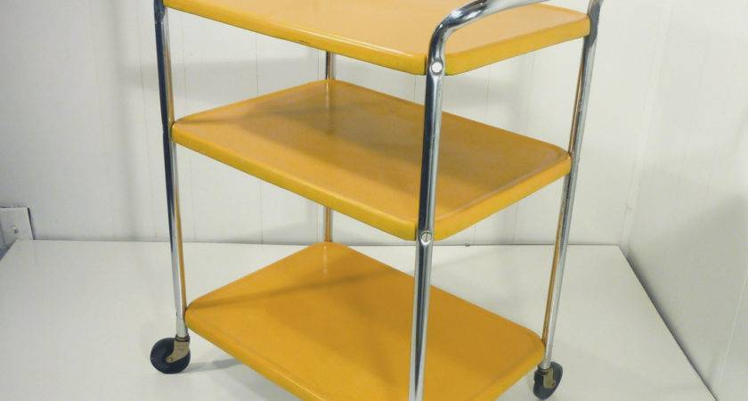 Golden Yellow Metal Kitchen Cart Movable Painted Vintage