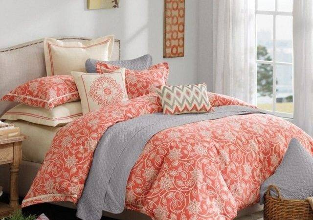 Gorgeous Cute Coral Turquoise Bedding Ideas Grey