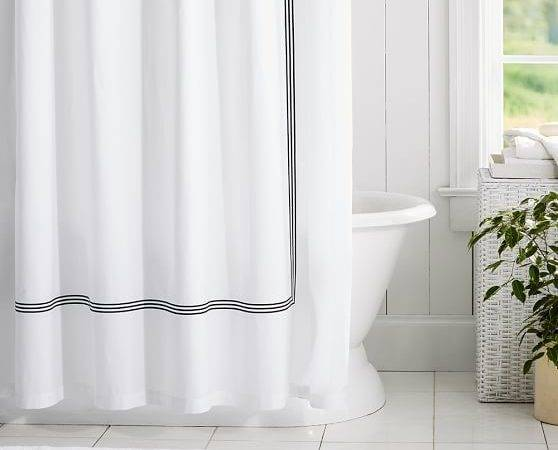 Grand Embroidered Organic Shower Curtain Pottery Barn