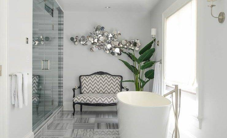 Gray Bathroom Chevron French Settee