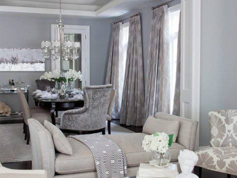 Gray Blue Living Room Contemporary Dining