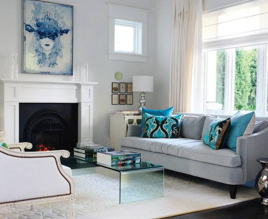 Gray Blue Living Room Transitional