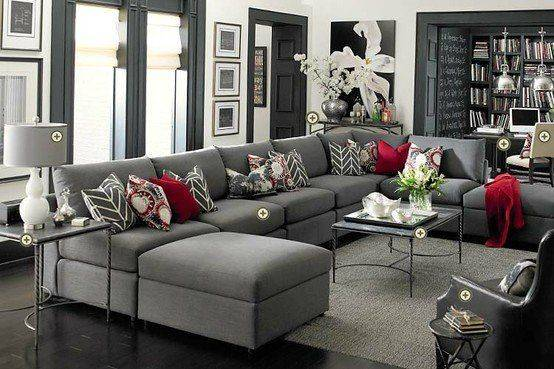 Gray Couch Red Accents Color Curtains