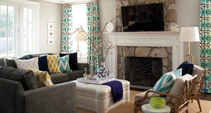 Gray Couch Tan Walls Living Room Contemporary Throw
