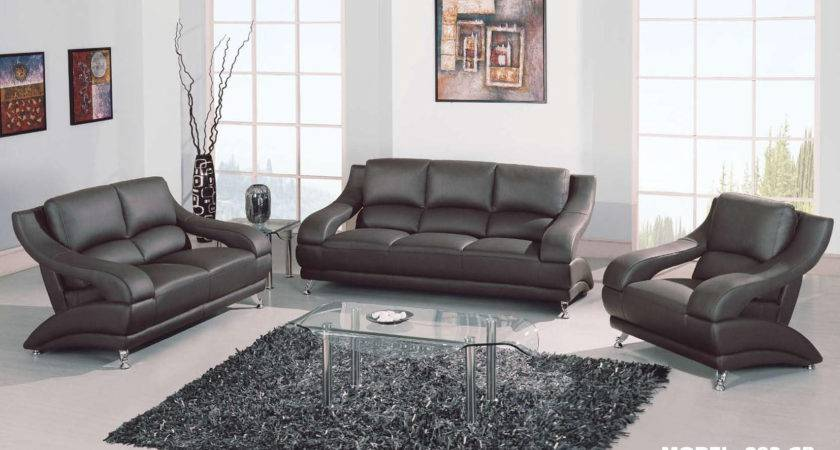 Gray Leather Living Room Set