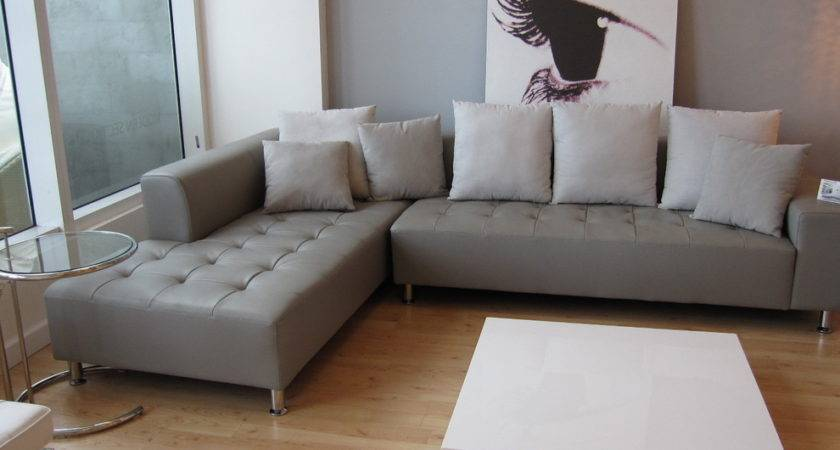 Gray Leather Sofa Living Room Contemporary Florida