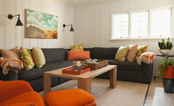 Gray Linen Sectional Design Ideas