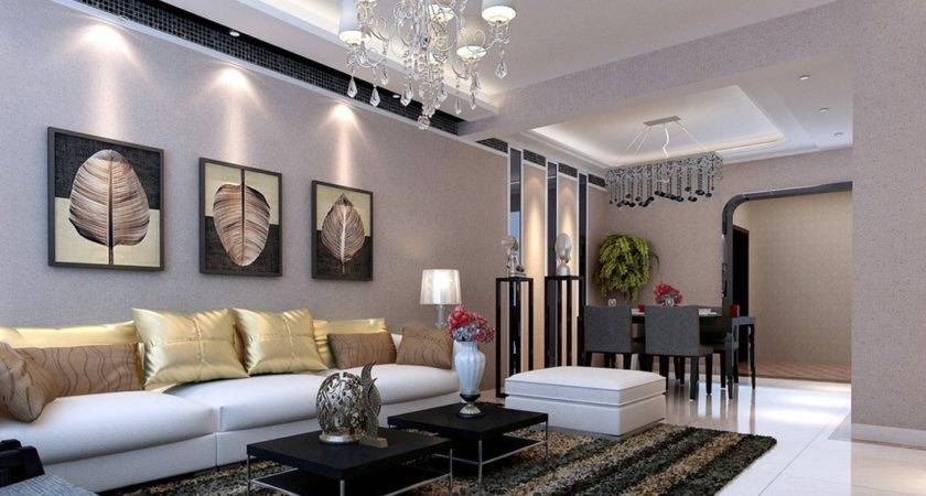Gray Living Dining Room Interior Design Pastoral Style