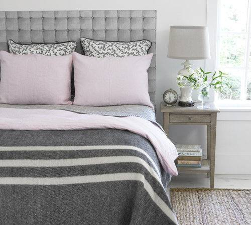 Gray Pink Bedroom Transitional Country