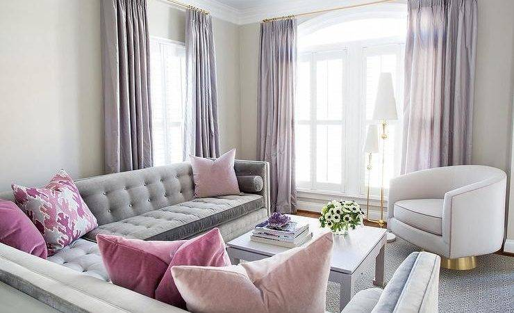 Gray Pink Living Room Purple Curtains