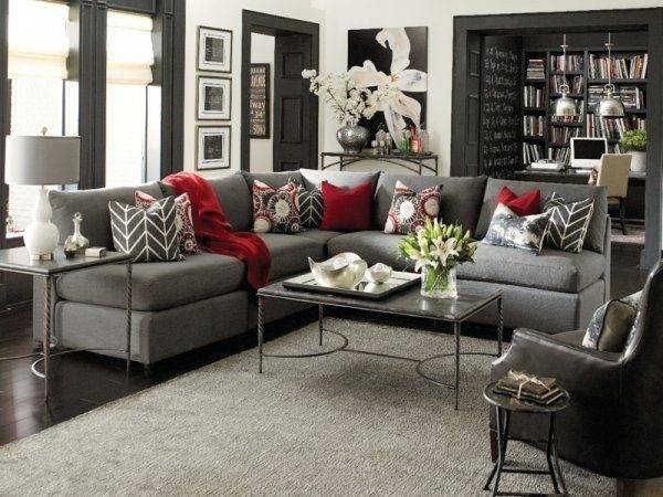Gray Red Living Room Interior Design