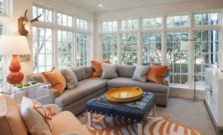 Gray Sectional Orange Pillows Design Decor Photos
