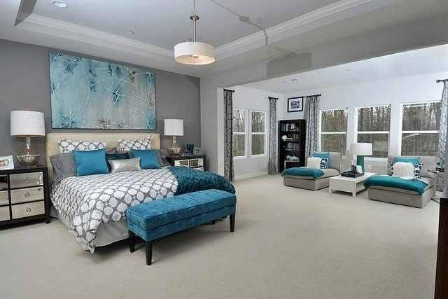 Gray Teal Bedroom