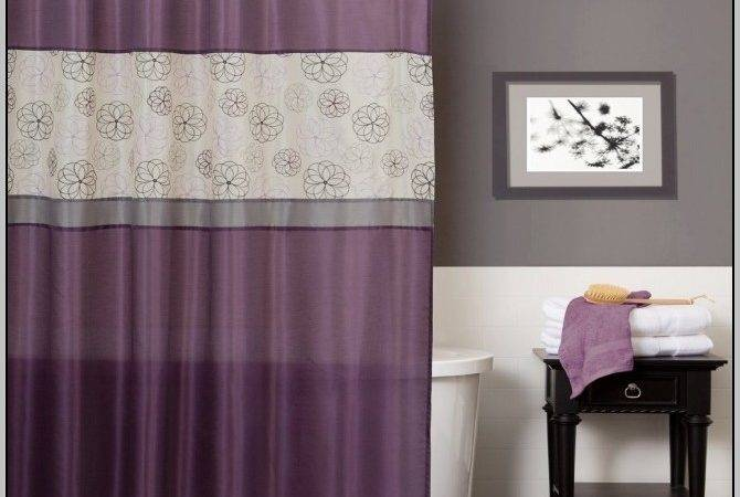 Gray Walls Purple Curtains Home Design Ideas