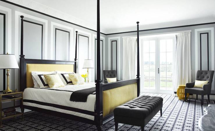Gray Yellow Bedroom Contemporary David