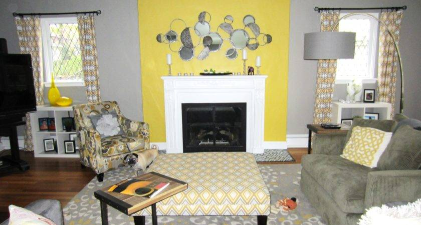 Gray Yellow Living Room Decorating Lovely