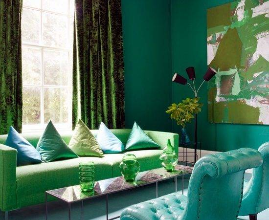 Green Blue Living Room Decor Grasscloth