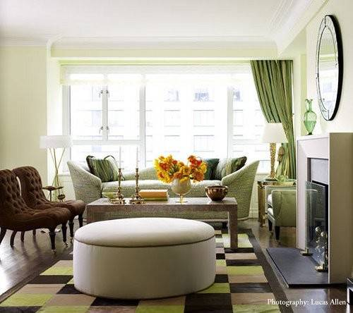 Green Brown Living Room Contemporary