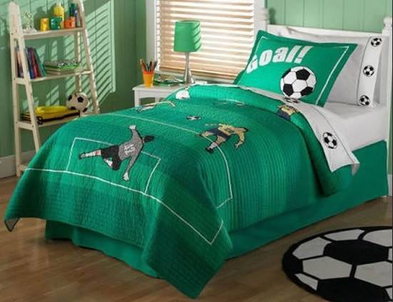 Green Color Football Bedroom Theme Home Interiors