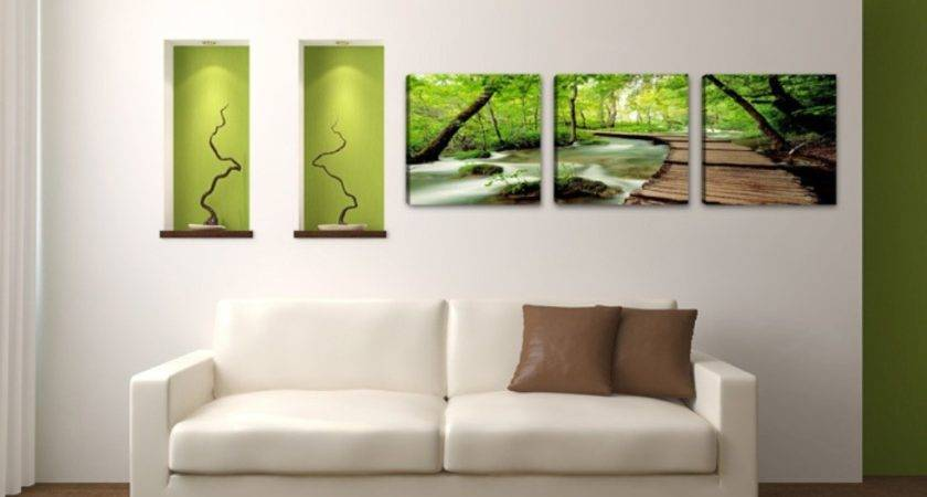 Green Forest White Couch Modern