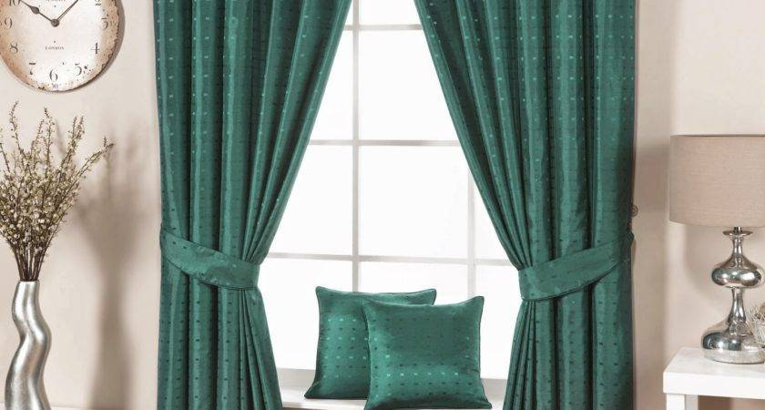 Green Living Room Curtains Modern Interior