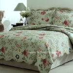 Green Sage Queen Quilt Set Country Cottage Floral