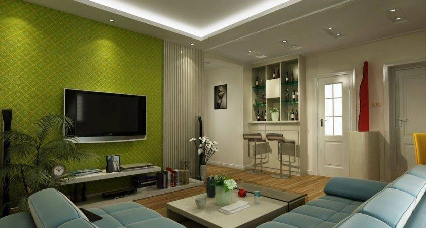 Green Wall Living Room House