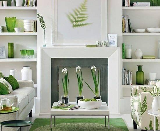Green White Living Room Decorating