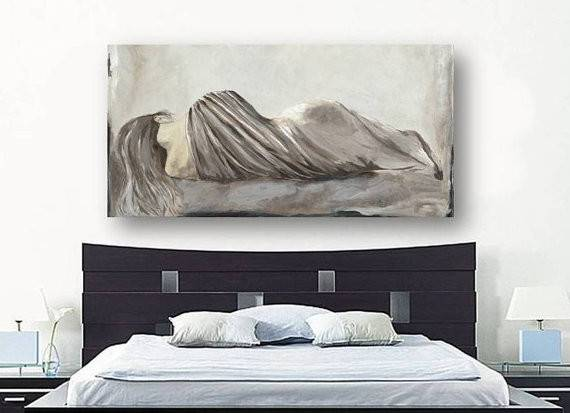 Greige Netural Large Wall Art Extra Bedroom Decor Canvas