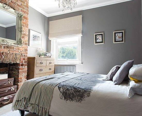 Grey Bedroom Brick Fireplace Gorgeous