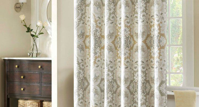 Grey Brown Floral Pattern White Curtains Chrome Pole